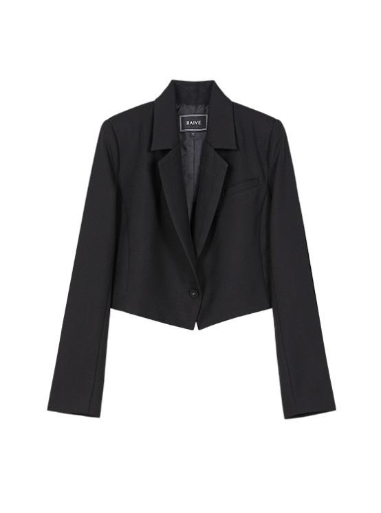 Cropped Single Jacket in Black_VW9AJ0400