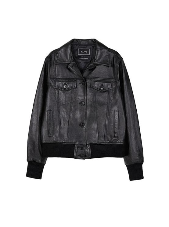 Leather Blouson in Black_VL9AJ0380