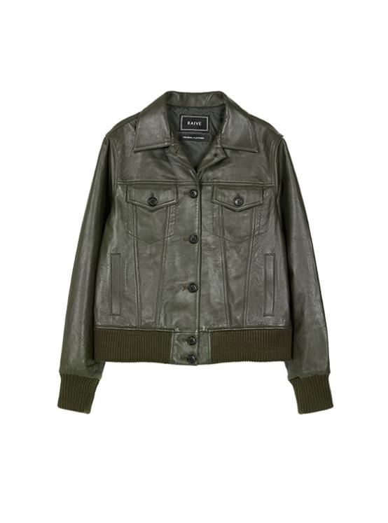 Leather Blouson in Khaki Brown_VL9AJ0380