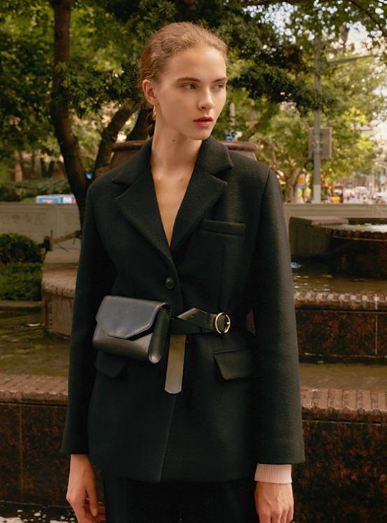 Wool Oversized Single Jacket in Black_VW9AJ0500