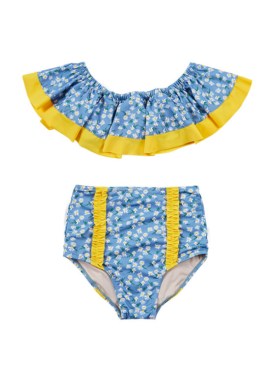 Flower Print Flare Bikini in Blue_VW9MX0950