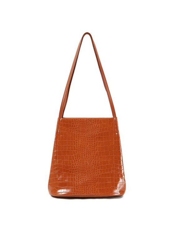 Mock Croc Tote Bag in Brown_VX9SG0260
