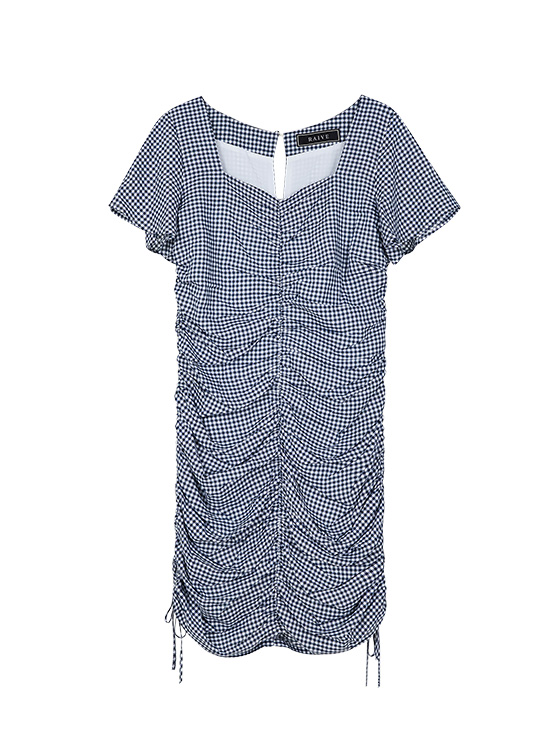 Check Square Neck Shirring OP in Navy_VW9MO0590