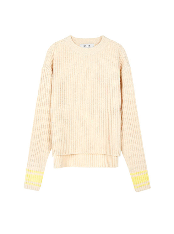 Neon Nep High Neck Knit in Ivory_VK9WP0800