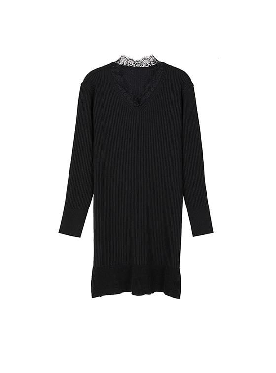 Lace Neck Mermaid Knit Dress in Black_VK8WO0420