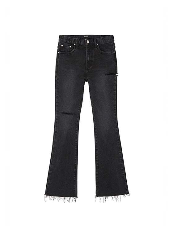 Ripped Bootcut Jeans in Black_VJ8AL0850
