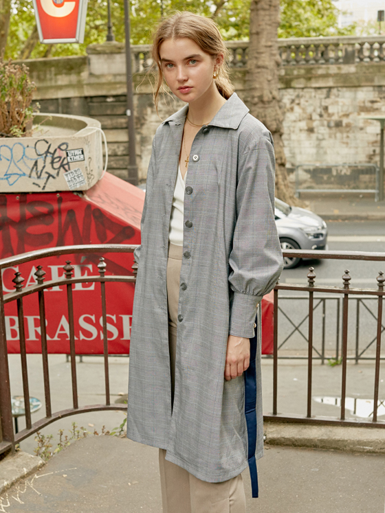 Puff Sleeve Trench Coat in Grey+Check_VW8AR0120