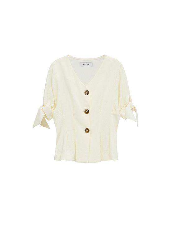 V Neck Ribbon Half-Sleeve Shirt in Ivory_VW8MB0350