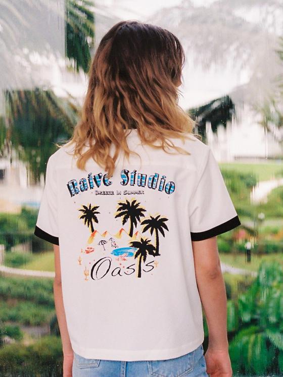 Original Print Bowling Shirt in White+Black_VW8MB0380