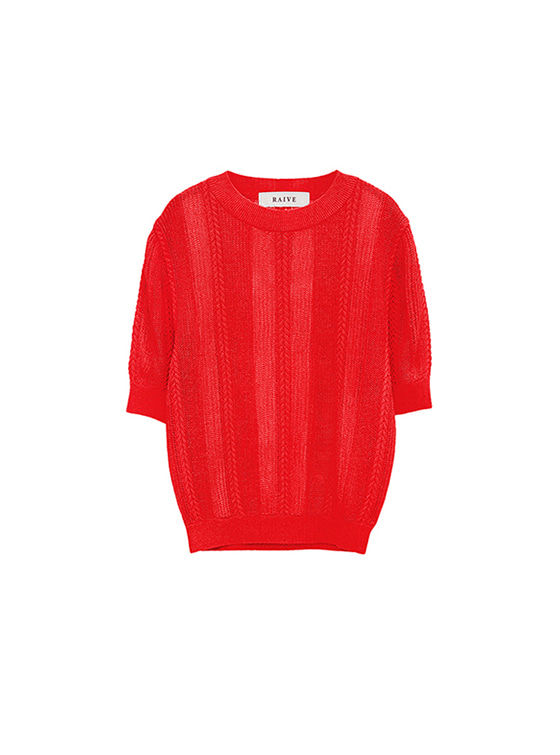 See-Through SS Knit in Red_VK8MP0690