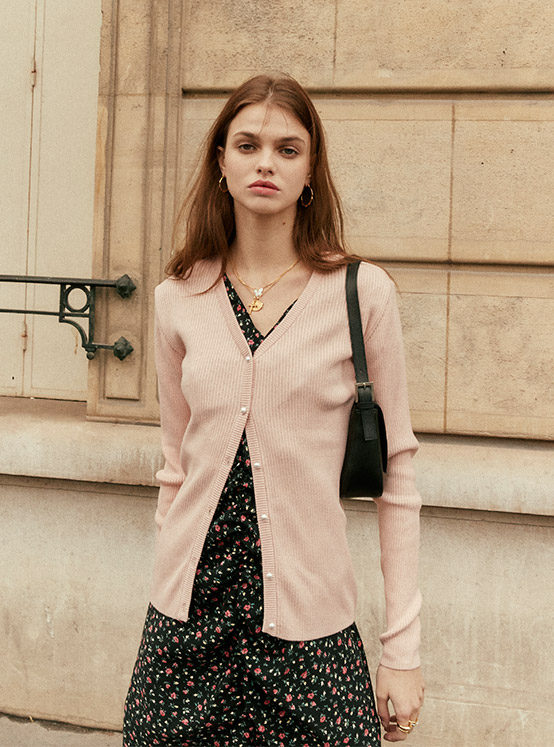 Button Ribbed Knit Cardigan in L/Pink_VK0SD1240