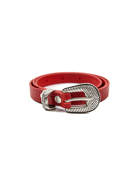 Patterned Leather Belt in Red_VX0ST0800