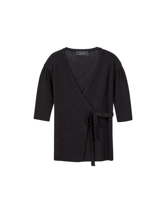 Puff Short Sleeve Wrap Knit in Black_VK0SP1250