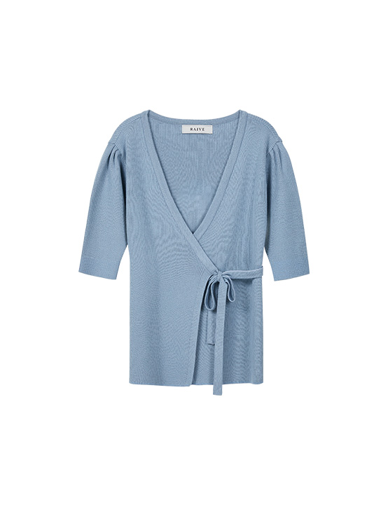 Puff Short Sleeve Wrap Knit in S/Blue_VK0SP1250