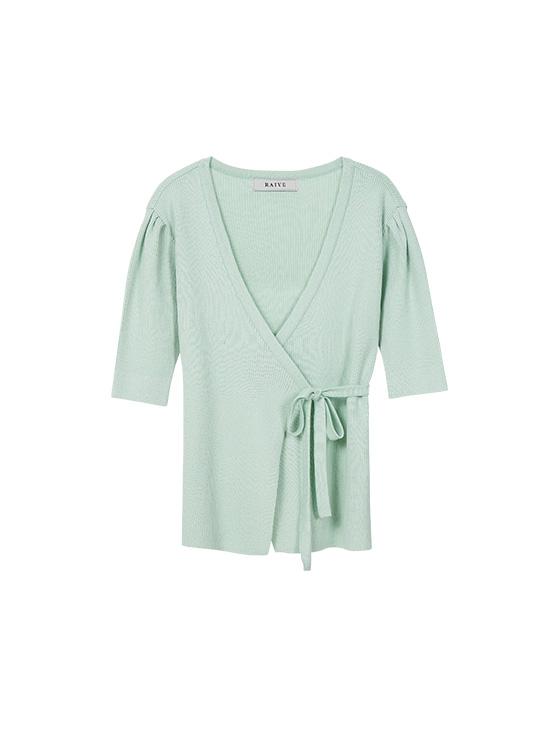 Puff Short Sleeve Wrap Knit in Mint_VK0SP1250