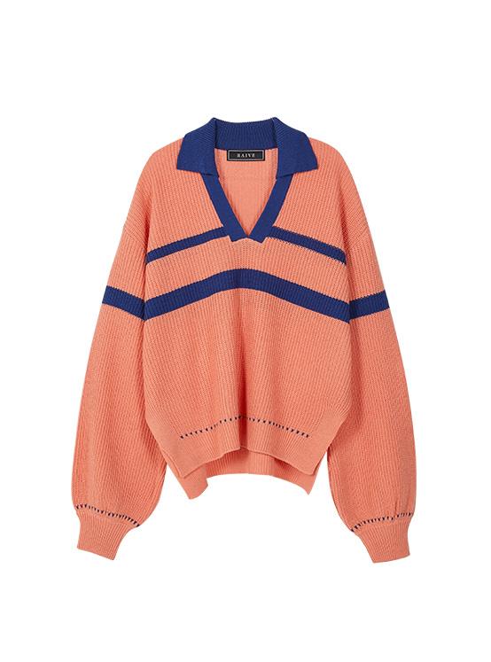Coloring V Neck Collar Knit in Coral_VK0SP1260