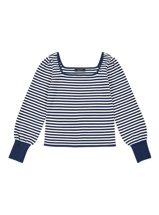 Color Line Square Neck Knit in Stripe_VK0SP1270