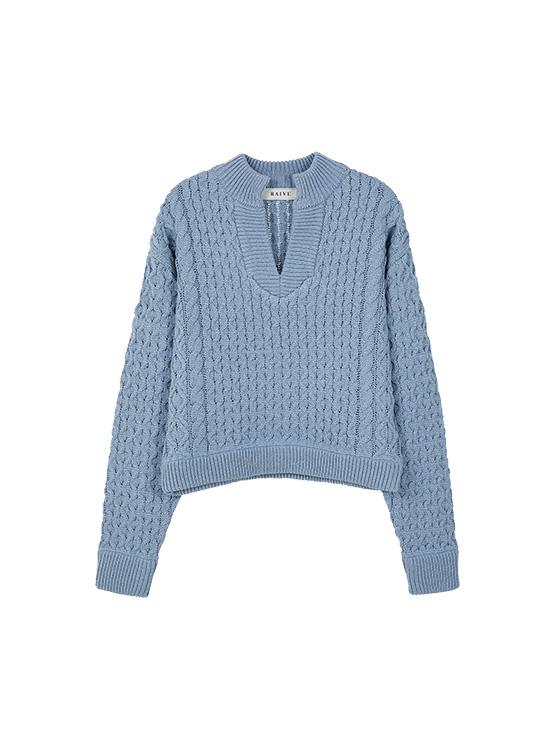 Crop Waffle V Neck Knit in S/Blue_VK0SP1280