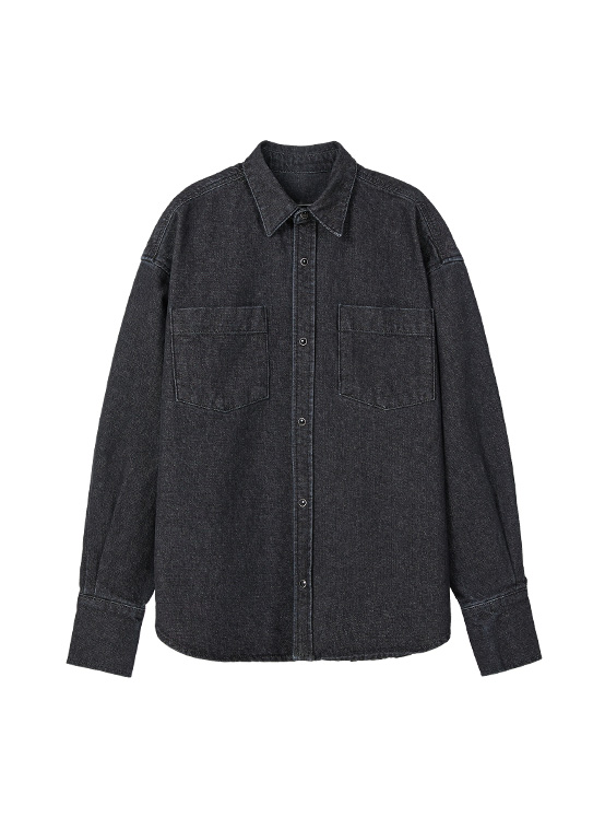 Oversized Denim Shirt Jacket in Black_VJ0SJ1100