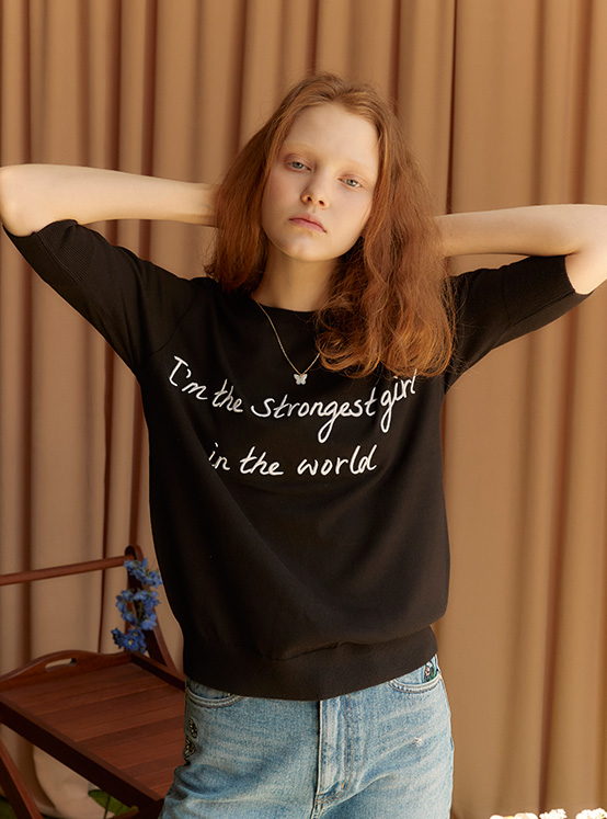 X PIPPI Lettering Embroidery Knit in Black_VK0SP1290