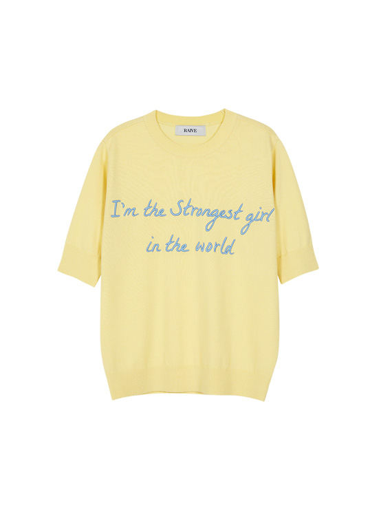 X PIPPI Lettering Embroidery Knit in L/Yellow_VK0SP1290
