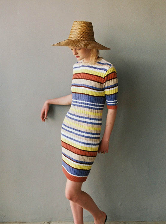 Coloring Stripe Knit One Piece in Yellow_VK0MO1650