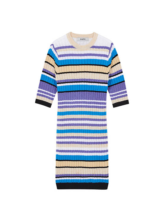 Coloring Stripe Knit One Piece in Blue_VK0MO1650