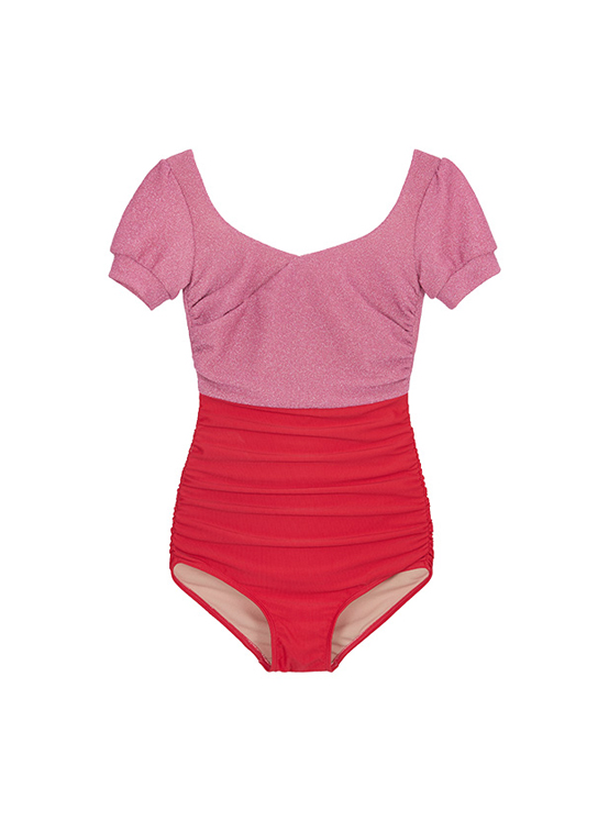 Sparkling Short Sleeve Swimsuit in Red_VW0MX0710