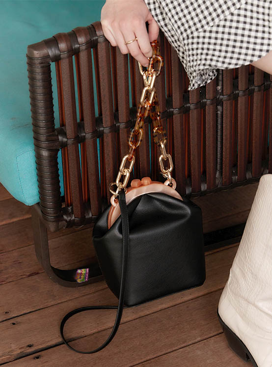 Real Leather Donna Bag in Black_VX0MG1700