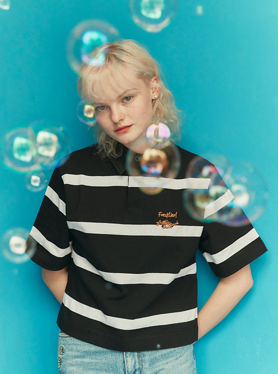 X PIPPI Stripe Crop PK Tee in Black_VW0ME1830
