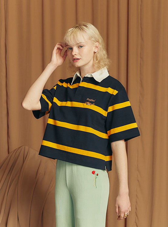 X PIPPI Stripe Crop PK Tee in Navy_VW0ME1830