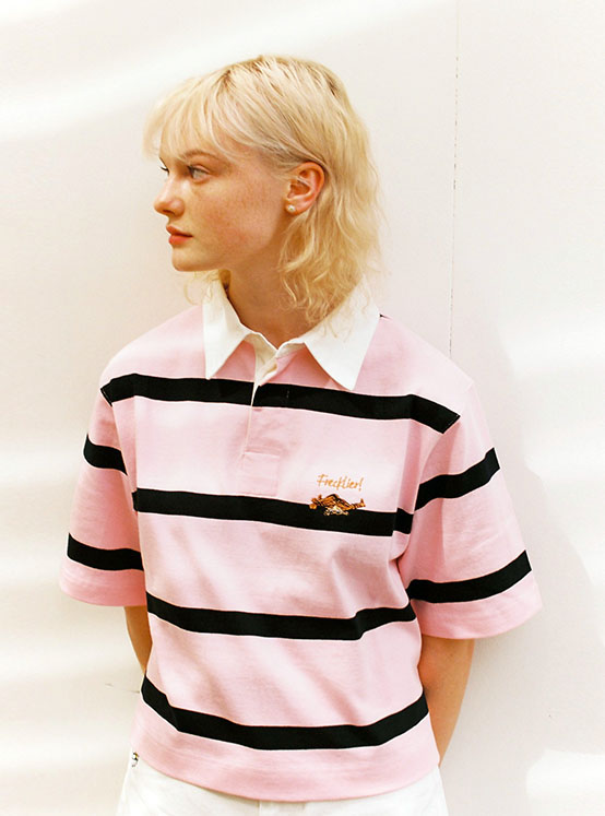 X PIPPI Stripe Crop PK Tee in Pink_VW0ME1830
