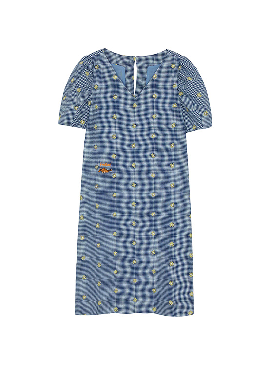 X PIPPI Embroidery Check One Piece in Navy_VW0MO1770