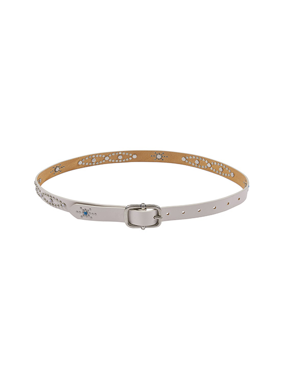 Western Leather Belt in Cream_VX0AT1950