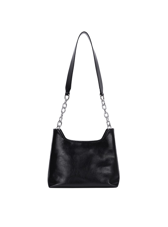 Wrinkle Leather Medium Bag in Black_VX0AG0910
