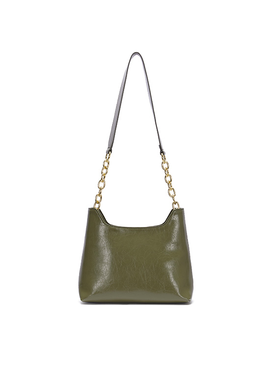 Wrinkle Leather Medium Bag in Olive_VX0AG0910