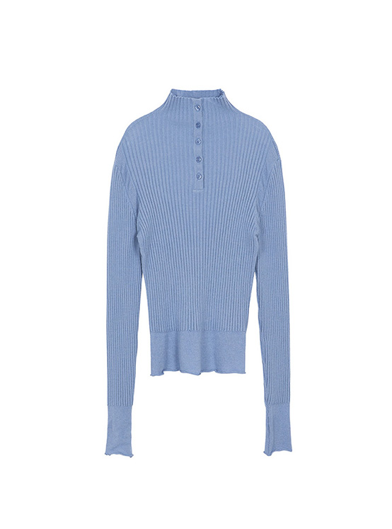 Button Ribbed Knit in Blue_VK0AP2300