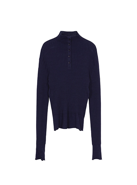 Button Ribbed Knit in D/Navy_VK0AP2300
