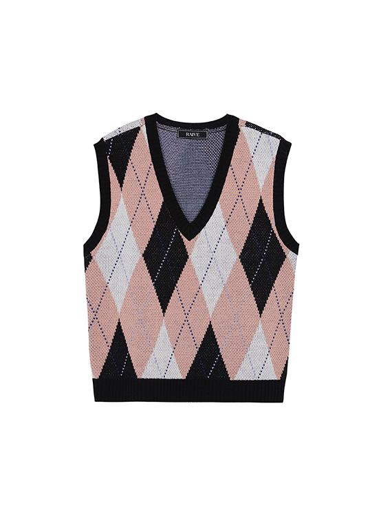 Argyle Knit Vest in Black_VK0AV2330