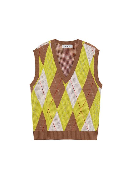 Argyle Knit Vest in Brown_VK0AV2330