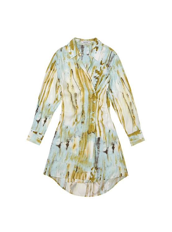 Print Shirt Wrap Dress in Sepia Green_VW0AO2500