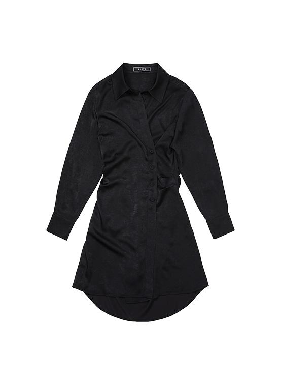 Shirt Wrap Dress in Black_VW0AO2510
