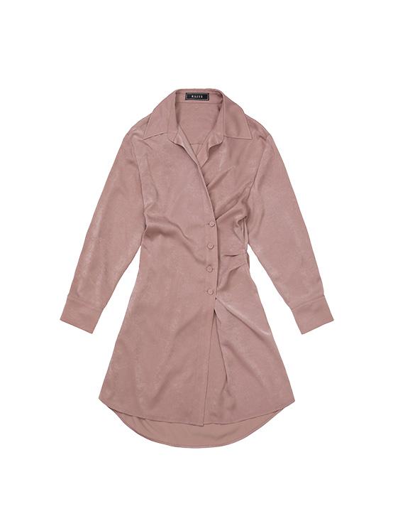 Shirt Wrap Dress in Smoky Rose_VW0AO2510