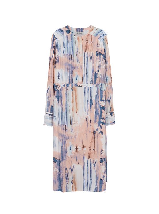 Print Waist Band Dress in Rose Tan_VW0AO2530