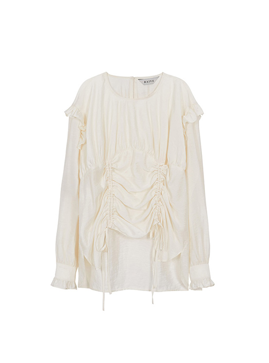 See Through Shirring Blouse in Ivory_VW0AB2600
