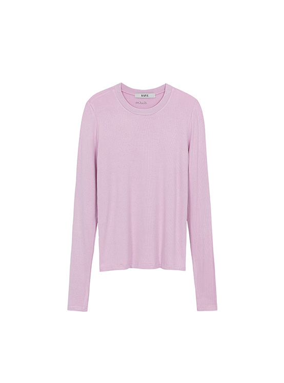 Glitter Embroidery Ribbed Tee in Pink_VW0AE1310