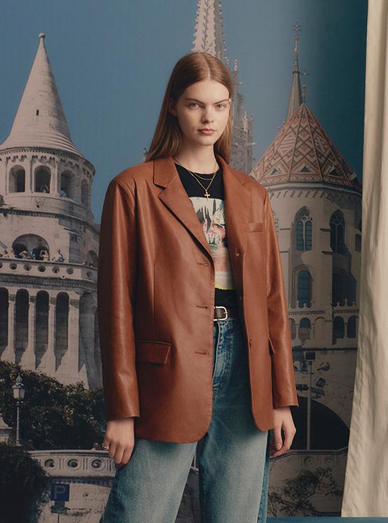 Leather Single Jacket in Brown_VL0AJ2000