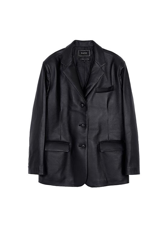 Leather Single Jacket in Black_VL0AJ2010