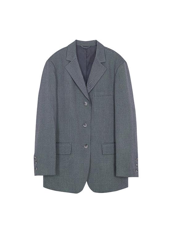 Oversized Single Jacket in Grey_VW0AJ1750