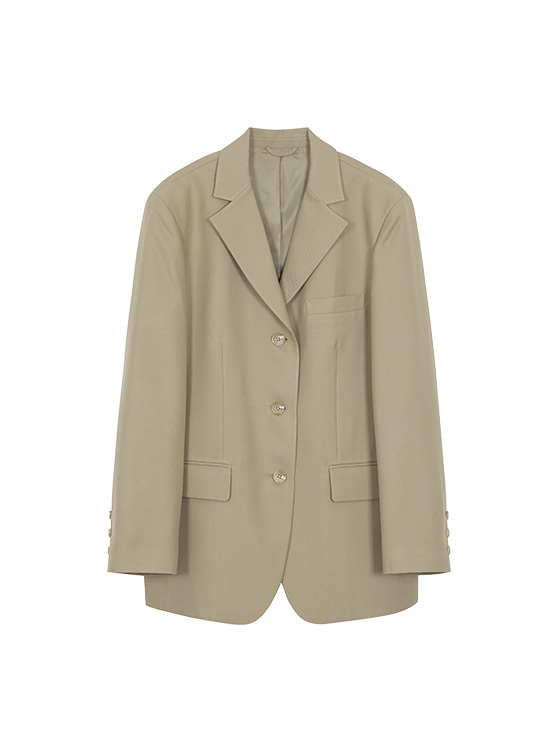 Oversized Single Jacket in Beige_VW0AJ1750